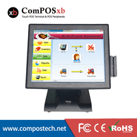 Full Set POS Hardware 15 Inch All In One PC Resistive Touch Screen POS Terminal With card Reader