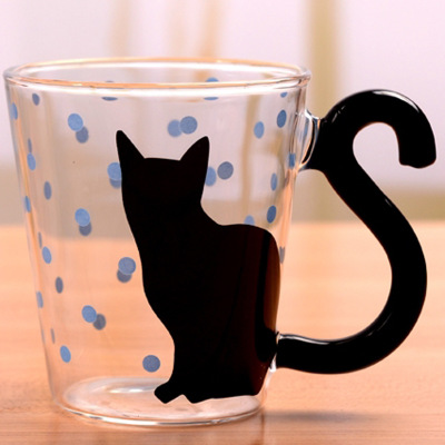 Various Black Cat Glass Tea Coffee Mugs