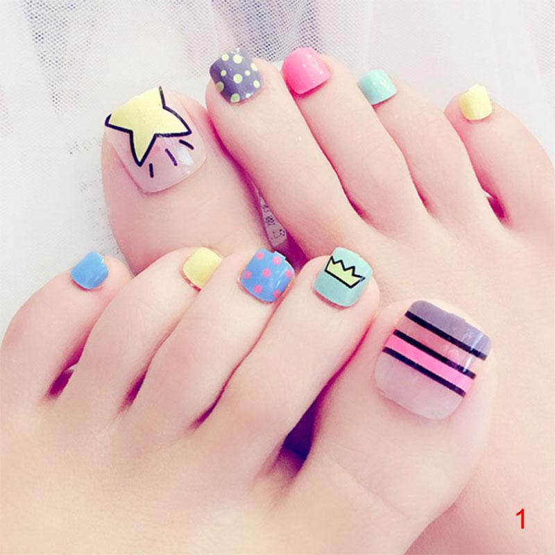 24 Pcs/Set Lady Girl 3D Toe Fake Nails Full Foot Toes Nail Art Tips ...