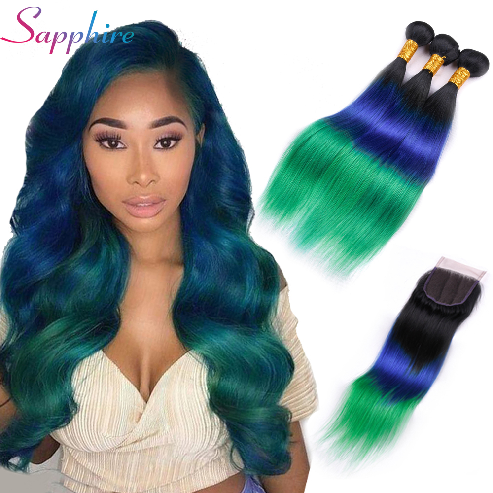 Sapphire Hair Brazilian Straight Hair 3 Bundles Ombre Human Hair Weave With 4 4 Lace Closure