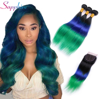Sapphire Hair Brazilian Straight Hair 3 Bundles Ombre Human Hair Weave With 4*4 Lace Closure 100% Remy Hair TB/Blue/Green