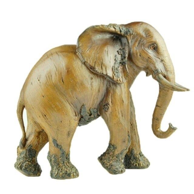 Grande taille Éléphant Décoration Résine Artisanat Imitation Bois Sculpture Accueil Décorations Souvenirs (A921)