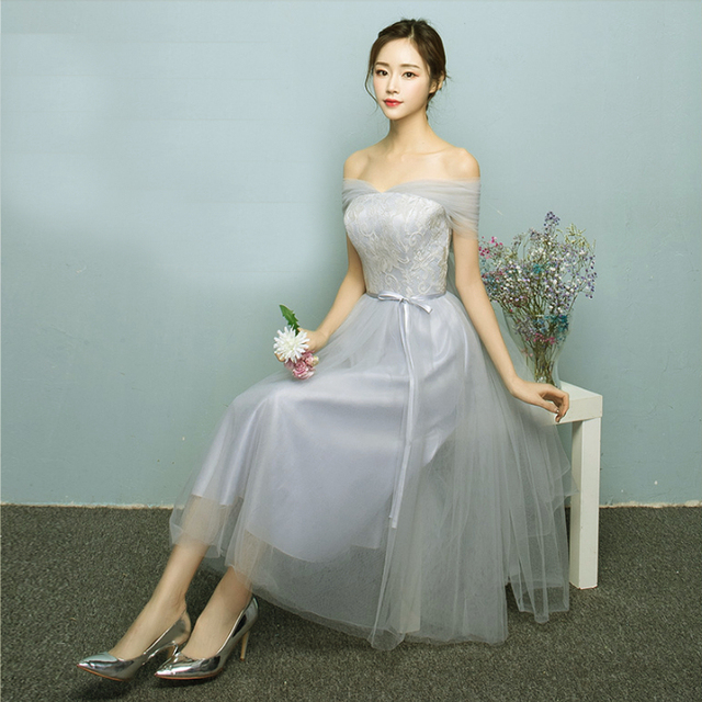brides maid formal cheap lace up bridesmaids strapless tea length ...
