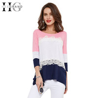 HEE GRAND Casual T Shirt Women Patchwork Fashion Tees For Spring Three Quarter Sleeve Loose Tops