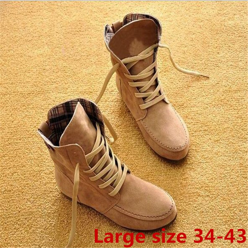 Large size 34 43 2018 Autumn Winter Women Martin Boots Ankle Boots Girls flats Women Shoes Causal Shoes Women Single boots S 39