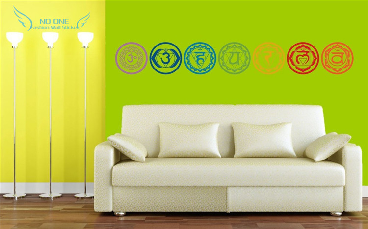 free shipping 7pcs/set Chakras Vinyl Wall Stickers Mandala Yoga Om - Home Decor - Photo 2