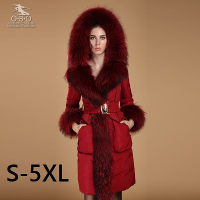 90% Goose Down Plus size 5XL size down coat Winter jacket Women Down Jackets luxury raccoon fur Outwear medium-long down parka