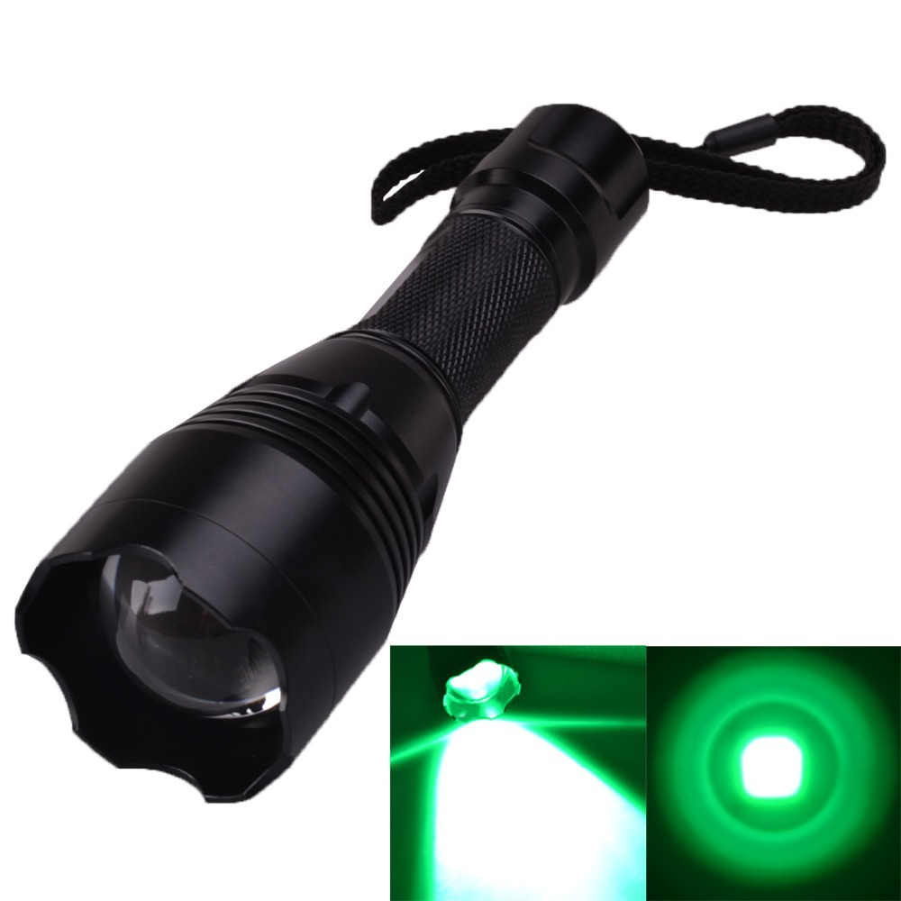 SingFire SF-360G CREE XP-E G4-R2 550lm 3-Mode Zooming Green Hunting Flashlight - Black (1 x 18650 Battery) ultrafire 455lm 5 mode memory white zooming flashlight silver 1 x 18650 3 x aaa