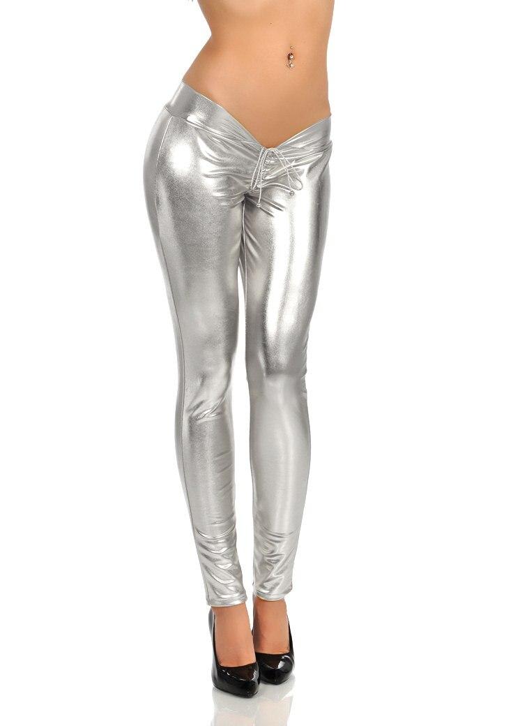Faux cuir Catsuit crayon pantalon taille basse pantalons décontractés Sexy sous-vêtements érotique Lingerie Leggings nuit Club danse porter FX100 - 4