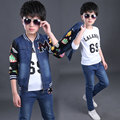 Denim Suits For Boys Coat + T-Shirt + Pants 3 Pcs Sportswear Boys Clothing Sets Kid Tracksuits Autumn Clothes 4 5 7 10 12 Years