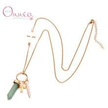 Onnea New Opal Stone Cross Pendants Necklace for Women Gold Chains Six Prism Quartz Exclusive Sweater Jewelry Accessories