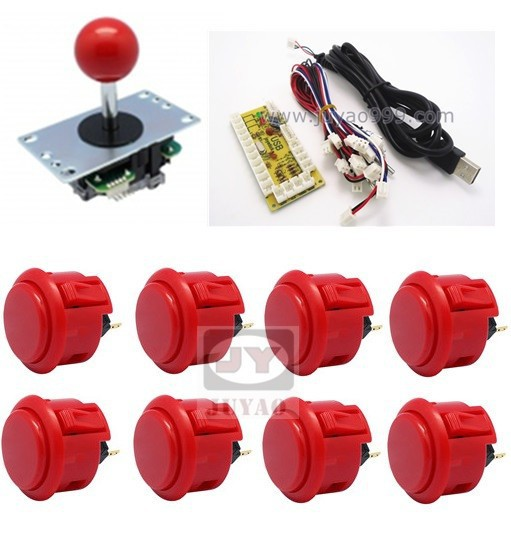 1 kit for PC controller with sanwa buttons and joystick, USB to Jamma arcade games, Single player Multicade Keyboard Encoder arcade joystick gamepad kit 800 games in 1 video tv jamma 2 joystick vga hidmi metal double stick arcade console with 2players