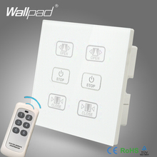 Hot Sales Double Remote Curtain Switch Wallpad White Glass 6 Gangs 2 Curtain Window Blind Wireless Remote Control Switch недорого