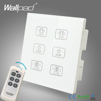 Hot Sales Double Remote Curtain Switch Wallpad White Glass 6 Gangs 2 Curtain Window Blind Wireless Remote Control Switch