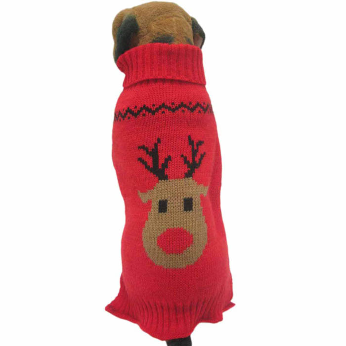 Dog Clothes Pet Winter Woolen Sweater Knitwear Puppy Clothing Warm Deer Head High Collar Coat Pet Accessories Product  F911