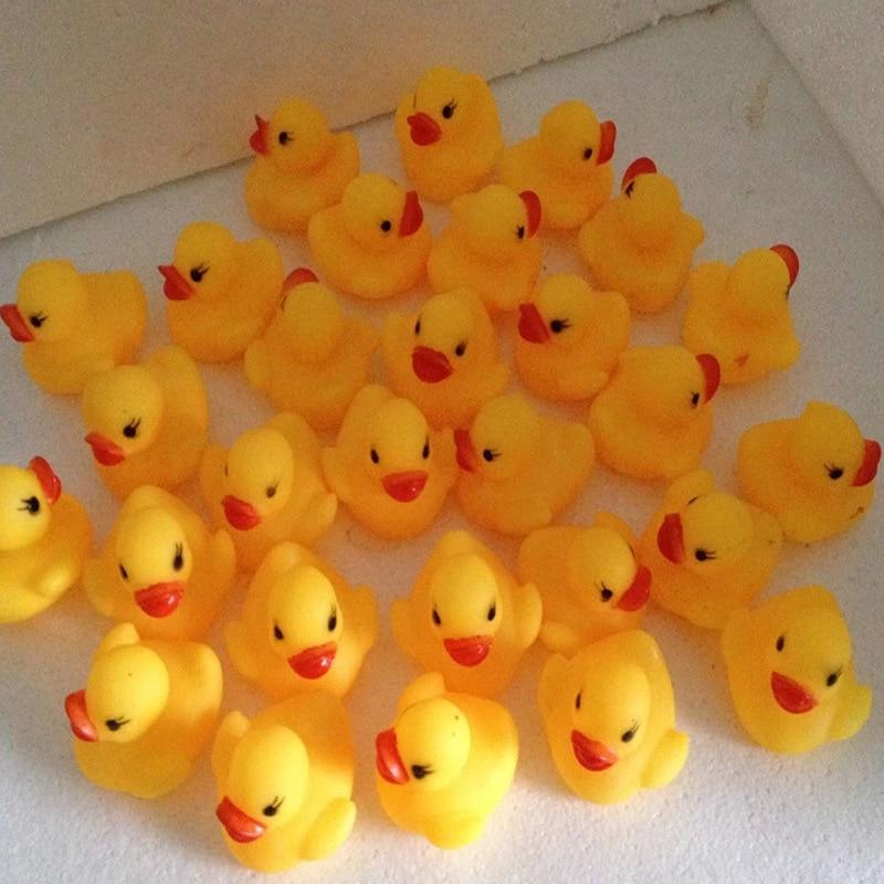 100pcs Lot Mini Bath Duck Sound Floating Rubber Ducks