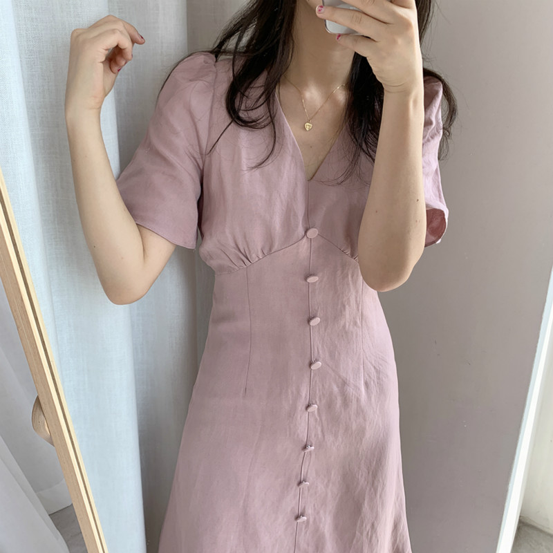 Long Dresses With Buttons Summer Women Elegant Sexy A- Line V Neck Short Sleeve Slim Waist Cotton Solid Color