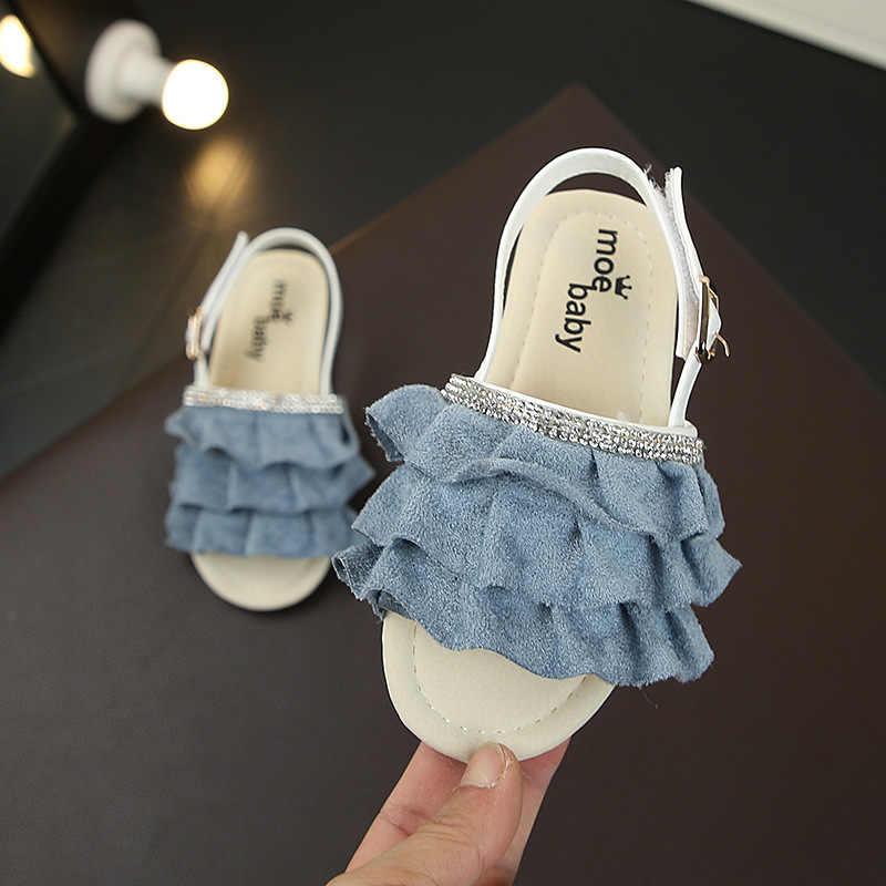 Zomer Meisjes Sandalen Prinses Slippers Mode Ruches Kinderen Strand Schoenen Casual Open Teen Zachte Anti-slip Baby Leren Sandalen