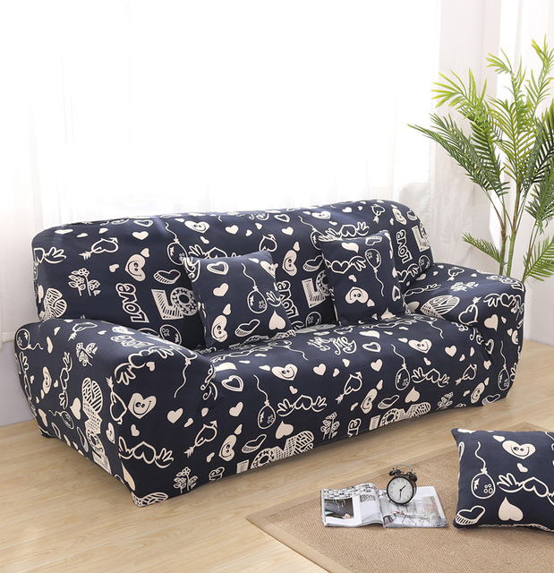 Fashion Printed Floral Furniture Sofa Covers Blue Gray Cotton Pastoral  Modern Elastic Converts Cover Pattern Capa