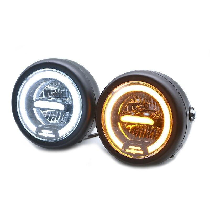 6.5 pouces universel café Racer Vintage moto LED lampe frontale phare distance lumière Refit moto phare café Racer - 2