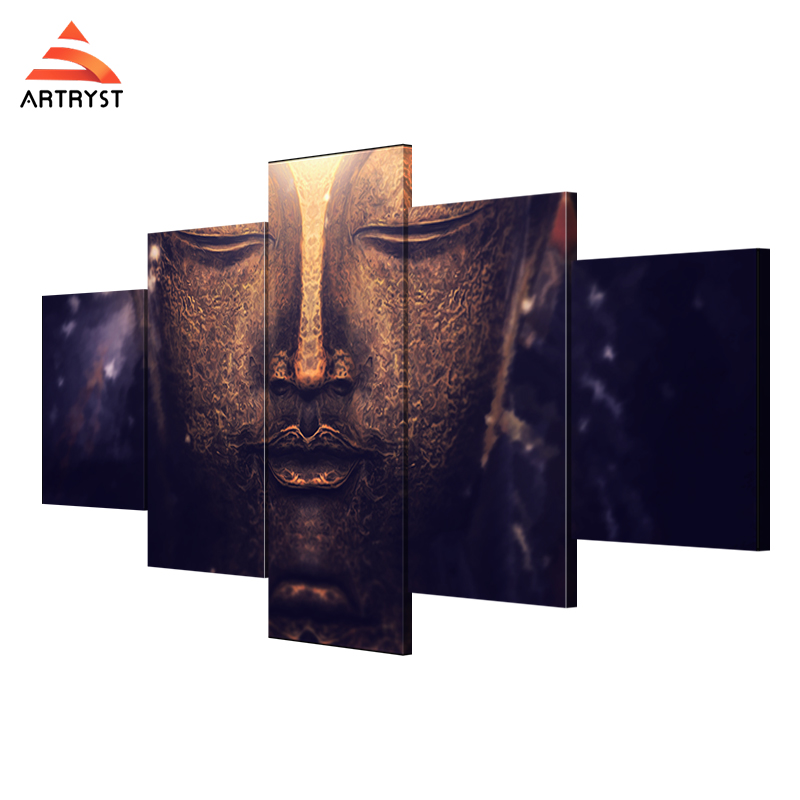 Artryst modern buddha canvas painting picture and poster HD print 5piece canvas wall art set for living room home decor AR111