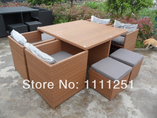New Wicker Outdoor Furniture Setting Garden Deck Bbq Dining Table And Chairs