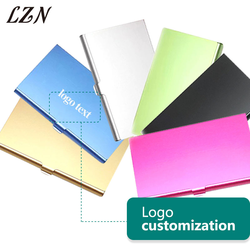 LZN Portable Aluminum Box Cover Credit Men Business Card Metal Holder Free Personalized Logo/Website/Contacts For Office