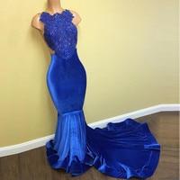 New Design Evening Dresses 2017 Modest Robe De Soiree Mermaid Appliques Beaded Velour Formal Evening Gowns