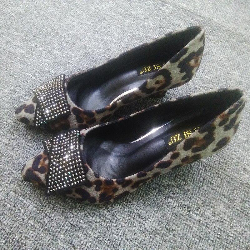 Pente Léopard Chaussures Automne Hot Européenne Américain Cales Cristal Heel Sexy Pointu Bouche Choisit heel Profonde 8cm Pompes Des heel Femme Peu 5cm 8cm 2018 ZukXiOPT