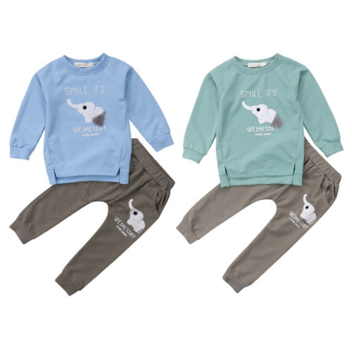 Kids Baby Boys Girls Cute Outfits Clothes T-shirt Tops Dress+Long Pants 2PCS Set