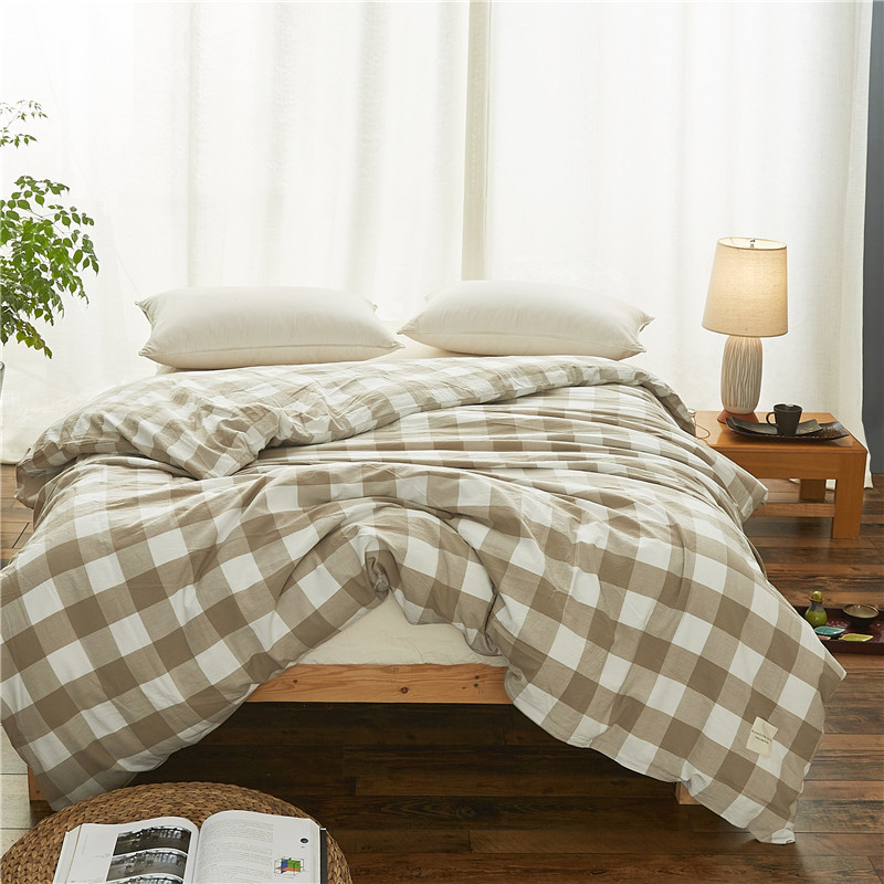 Simple Modern Light Gray Plaid Pattern Quilt Cover Bedding Cotton Duvet Cover 1Pcs Quilt Cover Single Bed Double Bed Satin Soft