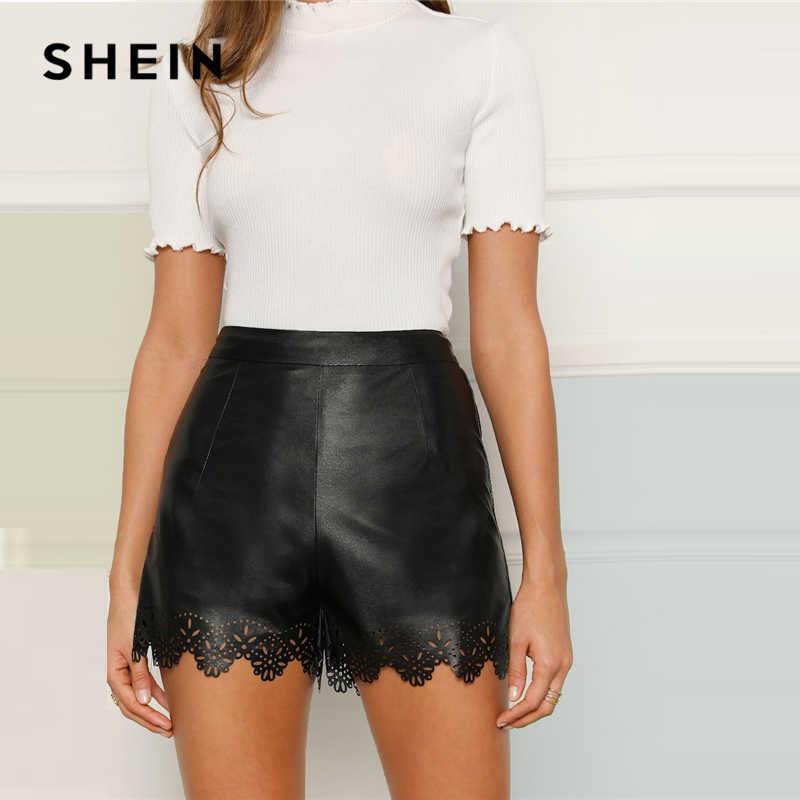 56c9c6ffe1 SHEIN Black Scallop Edge Laser Cut Leather Look Glamorous Plain Shorts  Women Summer Elastic Waist Sexy