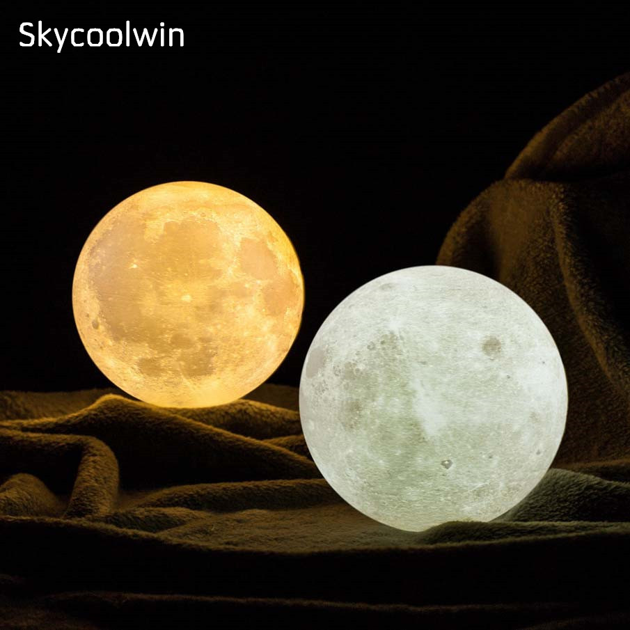 3D Printing LED Big Moon Light Touch Control Color Changing Luna Moon Light Night Lamp for Bedroom Home Decorative