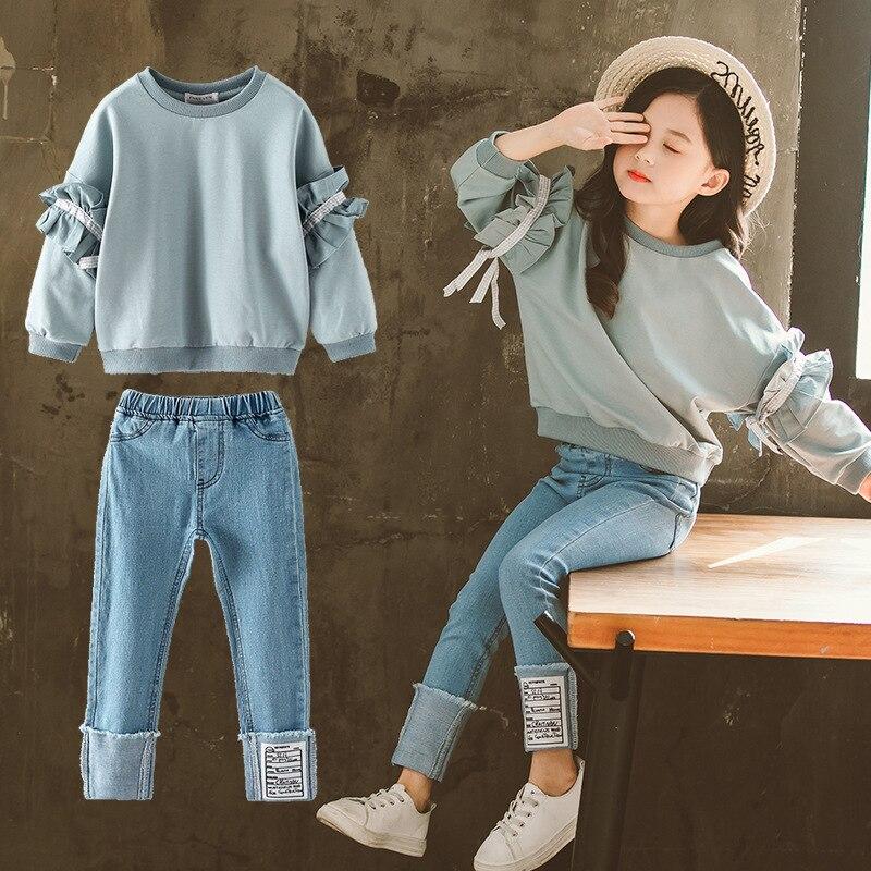 2019 Girls Outfits Toddler Girl Clothes Set Kids Tracksuit Long Sleeve Sweatshirt + Denim Pant Jeans 10 11 Vetement Enfant Fille