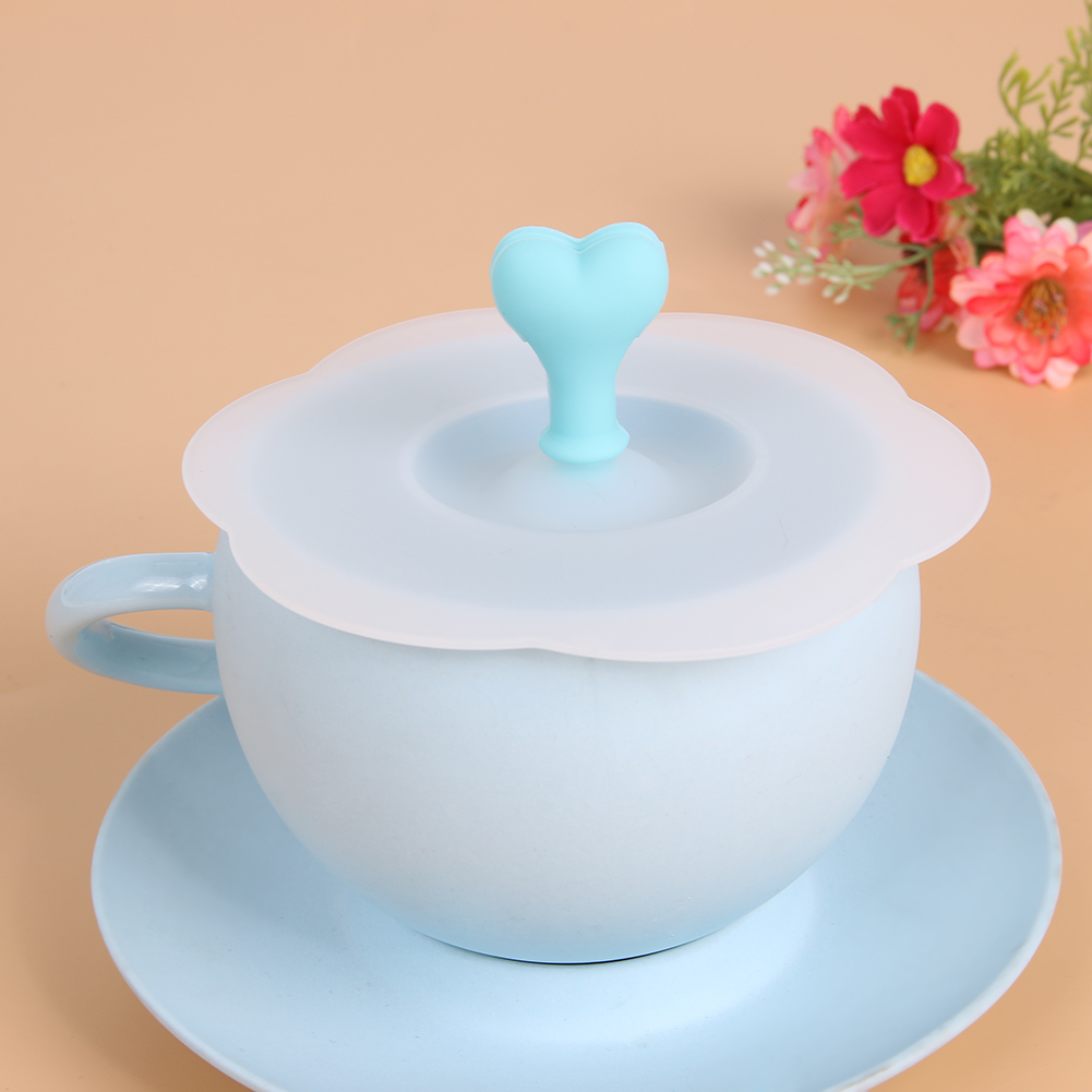 Cute Love Shape Cup Lid Dustproof Silicone Sealing Cup Lid Thermal Insulation Cup Cover for Tea Coffee Juice Cup Gifts ...