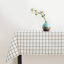 Modern Art Nordic Lattice Little Waterproof Coffee Table Dining Pastoral Cotton Linen Rectangular Table Cloth Nappes Mantele