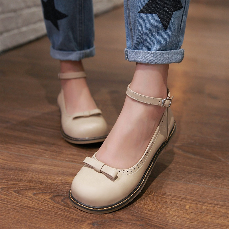 57aeabb5f98a Odetina 2018 New Fashion Mary Jane Flat Shoes for Women Buckle Ankle Strap  Flats Bow Tie Ladies Casual Shoes Cute Big Size 34 43-in Women s Flats from  Shoes ...