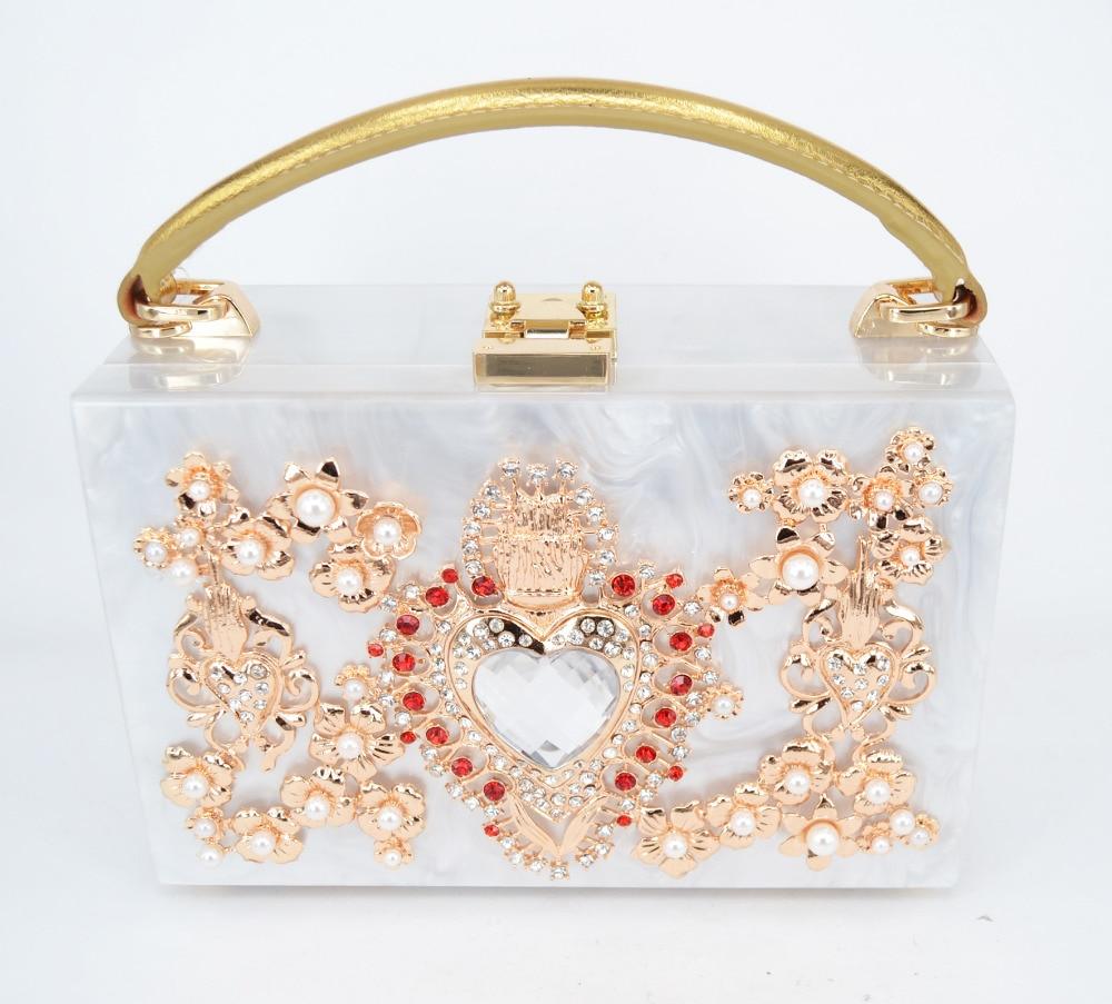 ФОТО Limited high quality diamond flowers hollow relief Acrylic Ballot lock luxury handbag evening bag clutch coin for party purse