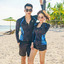 купить Rhyme Lady Surf Swimwear new Couple Patchwork Print Rash Guard Long Sleeve Swimsuit Sun Protection Surfing Clothes For lovers дешево