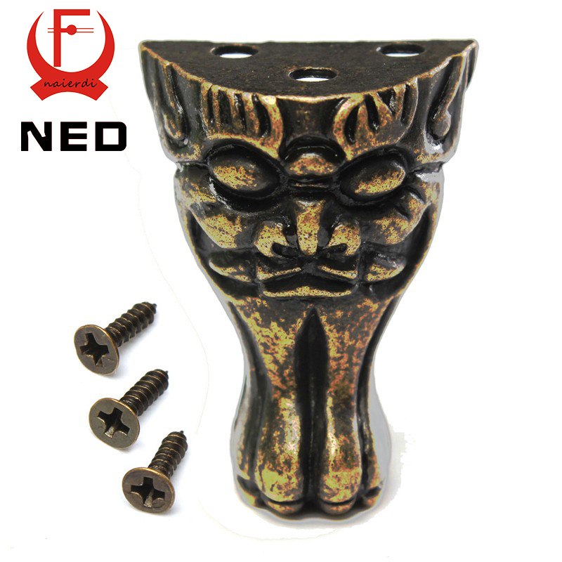 Ned 4pcs Antique Brass Jewelry Chest Wood Box Cabinet Decorative Feet Leg Corner Brackets Protector For