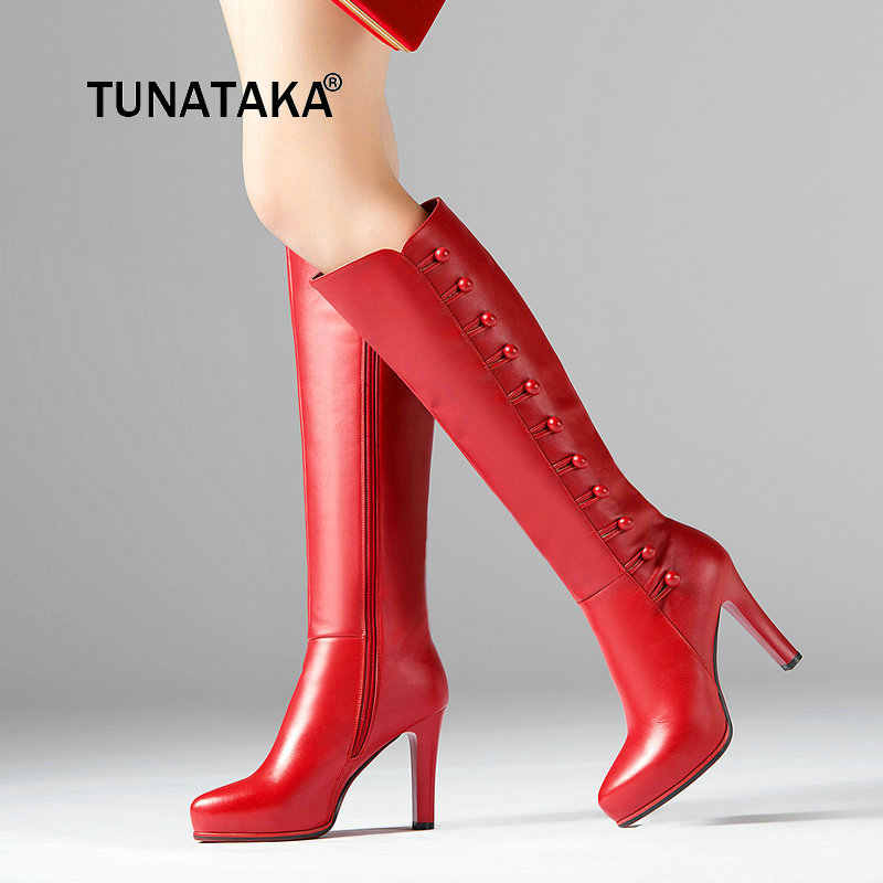 Genuine Leather Boots Women Knee High