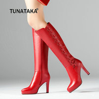 Genuine Leather Platform Thin High Heel Woman Knee High Heel Boots Fashion Zipper Calf Boots Black Red
