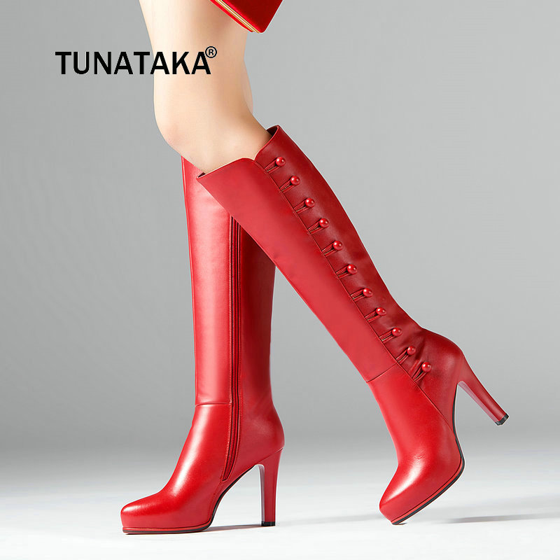 Genuine Leather Boots Women Knee High Boots High Heel Boots Winter Fashion Sexy Woman Long Black Red Boots Zipper Shoes 2019
