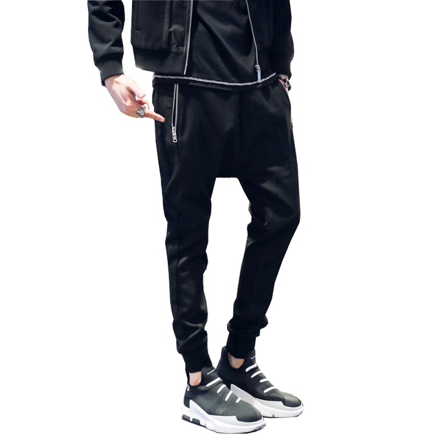 2017 New Spring Pocket Zipper Low Crotch Men Casual Harem Pants Fashion Hiphop Trousers High Quality Male Sweatpants