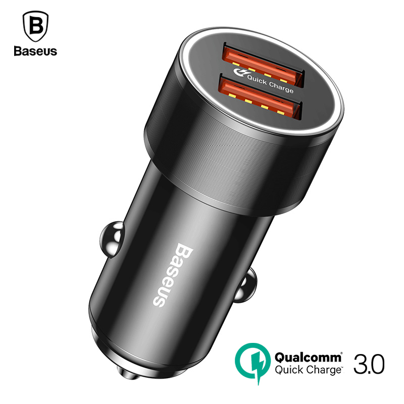 Baseus Dual USB Carga Rápida QC 3.0 Carregador de Carro Para o iphone X 8 Rápido Carregamento Universal 36 W Carregador de Carro USB Para Samsung carregadores