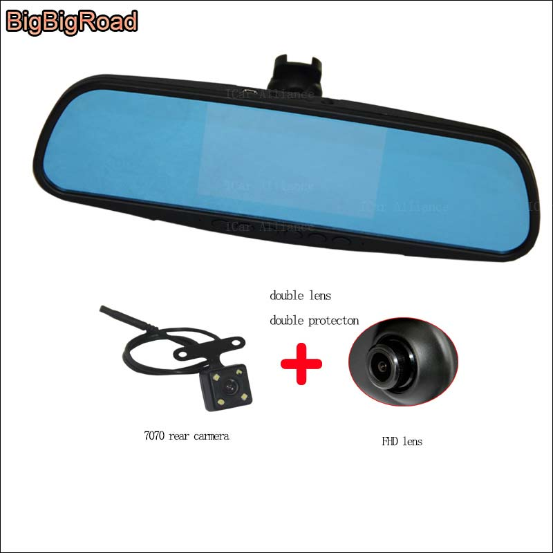 BigBigRoad For honda citiy Dual Lens Car Mirror Camera DVR Blue Screen Video Recorder Dash Cam with Original Bracket dash cam bigbigroad for vw tiguan routan car dvr blue screen dual lens rearview mirror video recorder 5 inch car black box night vision