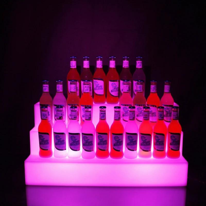 rechargeable led color changing 3 tiers led bar shelf wine bottle rack glorifier holder display stand liquor bottle shelves