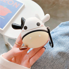 3D Bluetooth Earphone Case for Airpods Cute Protective Cover 2 Accessories with Keychain Stereoscopic Cow Design
