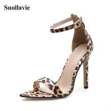 Sexy Leopard Print Sandals Ladies Stiletto Women's Shoes High Heels Heels Dress Open Toe Fashion Summer Ankle Strap Party Shoes wetkiss summer ankle strap women sandals open toe platform shoes print footwear 2018 super high heels party fashion ladies shoes
