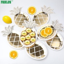 ФОТО fanlus 8pcs 10inch gold foil pineapple plates disposable tableware set paper plates for hawaiian luau party supplies